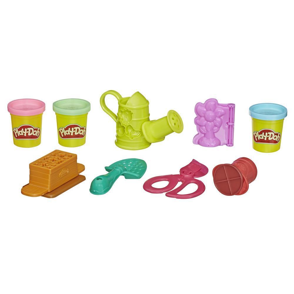 Play-Doh Jardín de colores - Juego de herramientas de jardinería de juguete para niños con 3 colores no tóxicos