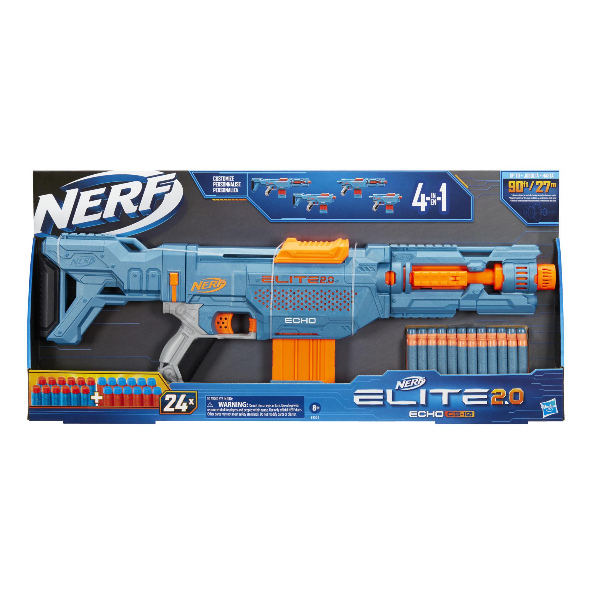 Nerf Elite 2.0 Echo CS-10 Blaster, 24 Nerf-nuolta, 10 nuolen lipas, irrotettava tukki ja piipun jatkokappale, 4 taktista kiskoa