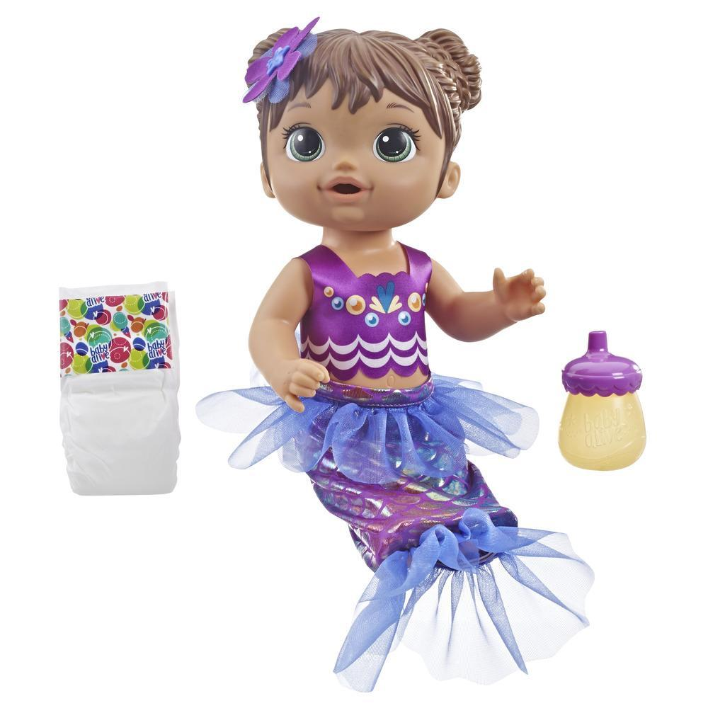 Baby Alive Shimmer 'n Splash Mermaid Baby Doll (Brown Hair)