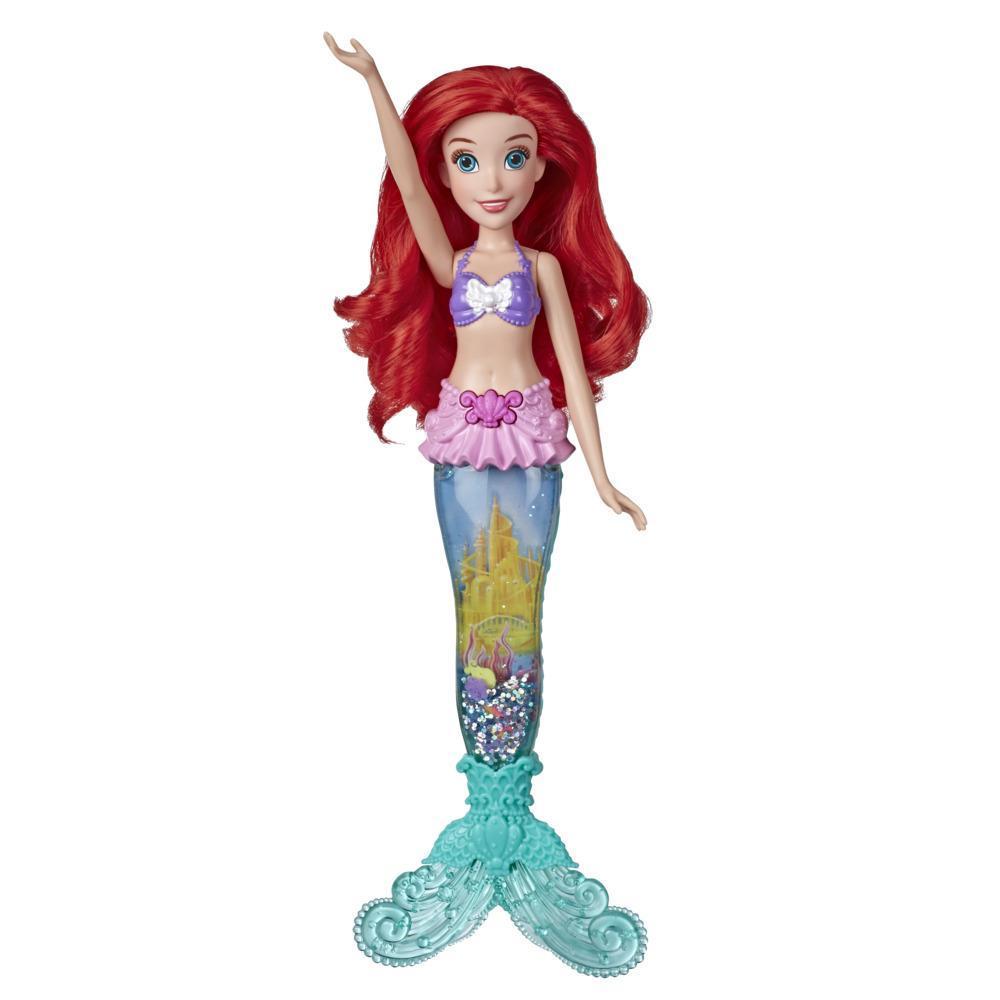 Disney Princess Glitter 'n Glow Ariel Doll, jossa valot ja merenneidon pyrstön sisällä vettä, kimalletta ja kotiloita