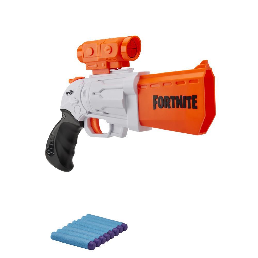 Nerf Fortnite SR -blaster --  4 nuolen iskuritoiminto -- Sisältää irrotettavan tähtäimen ja 8 virallista Nerf Elite -nuolta