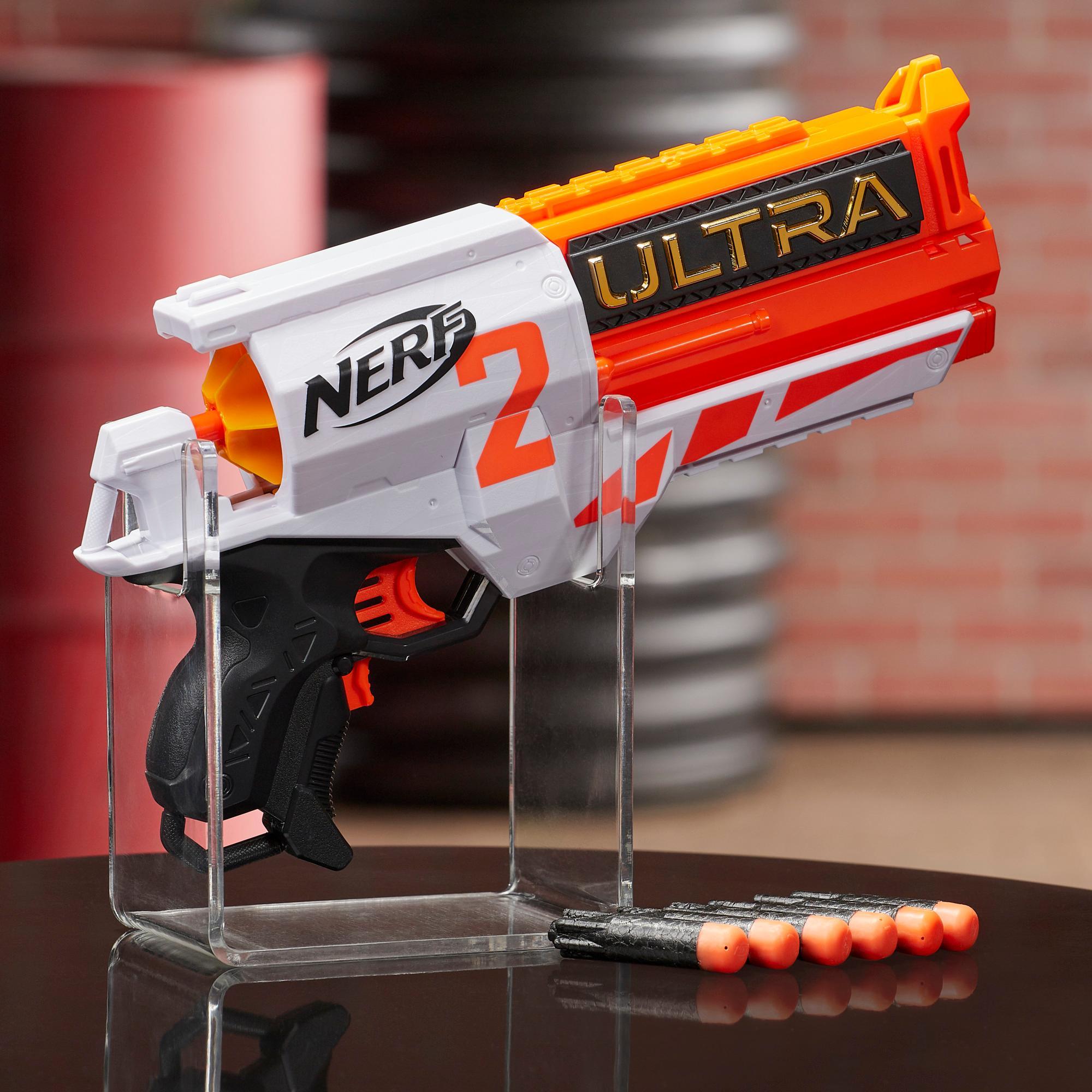 Moottoroitu Nerf Ultra Two -blasteri – Nopea lataus takaa, mukana 6 Nerf Ultra -nuolta – Yhteensopiva vain Nerf Ultra One -nuolten kanssa