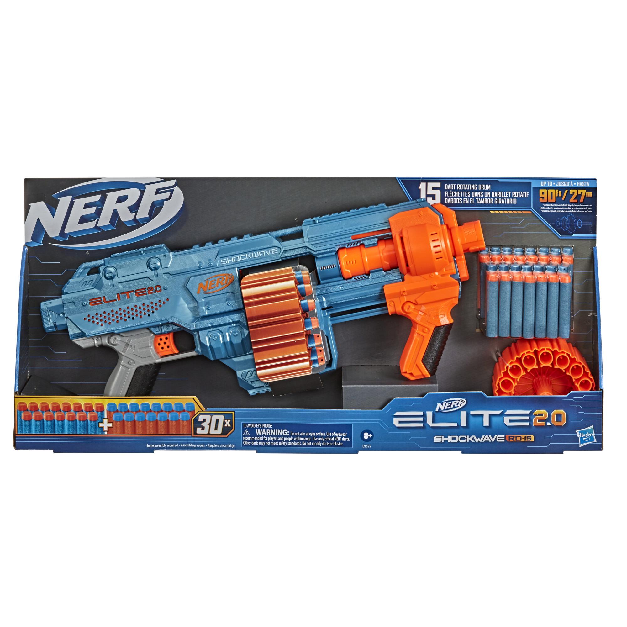 Nerf Elite 2.0 Shockwave RD-15 Blaster, 30 Nerf-nuolta, 15-nuolinen pyörivä rumpu, pikalaukaisu, räätälöintimahdollisuus