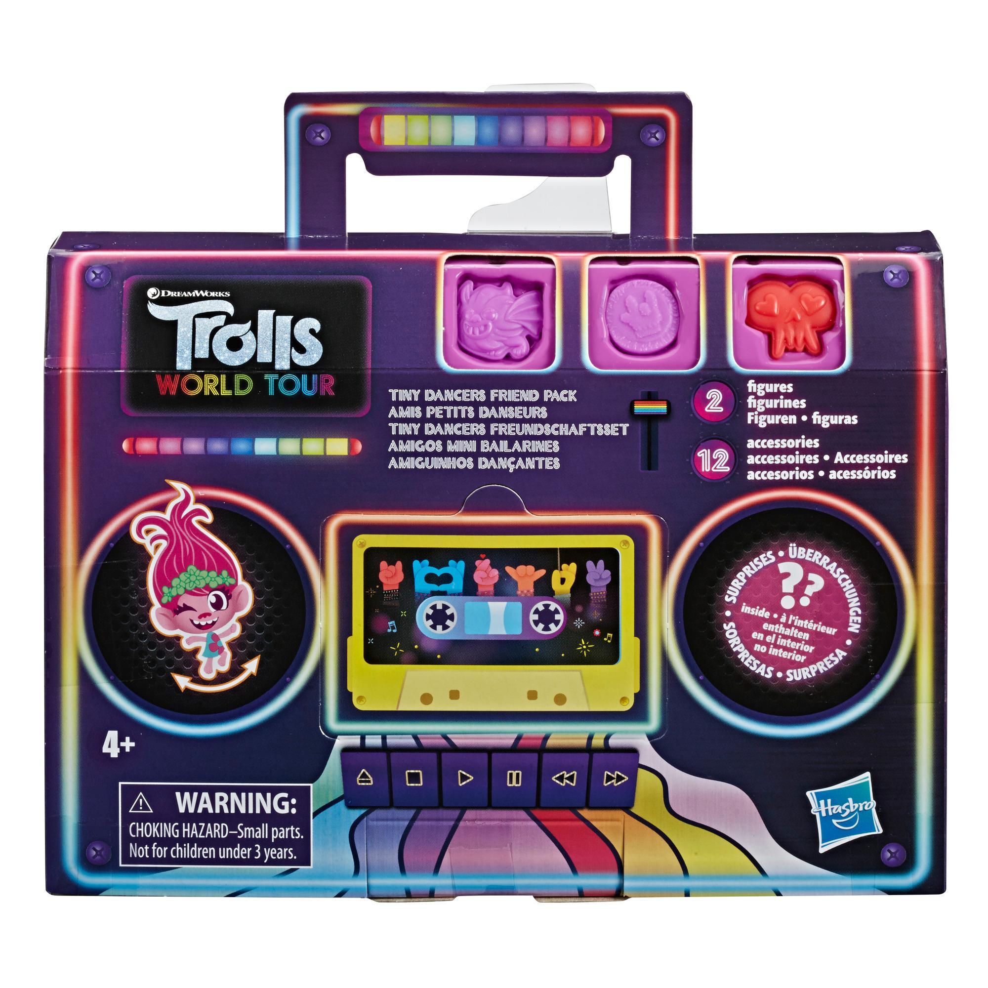 DreamWorks Trolls Tiny Dancers Friend Pack, jossa 2 Tiny Dancer -hahmoa, 2 rannekorua ja 10 koristetta, Trolls: Maailmankiertue -elokuvan innoittama