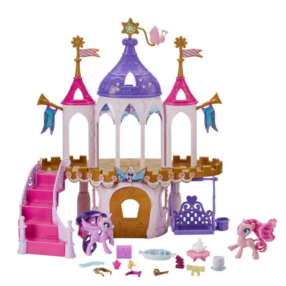 My Little Pony Friendship Castle -leikkisetti, jossa on 7,5 cm:n Twilight Sparkle- ja Pinkie Pie -ponihahmot ja 16 lisävarustetta