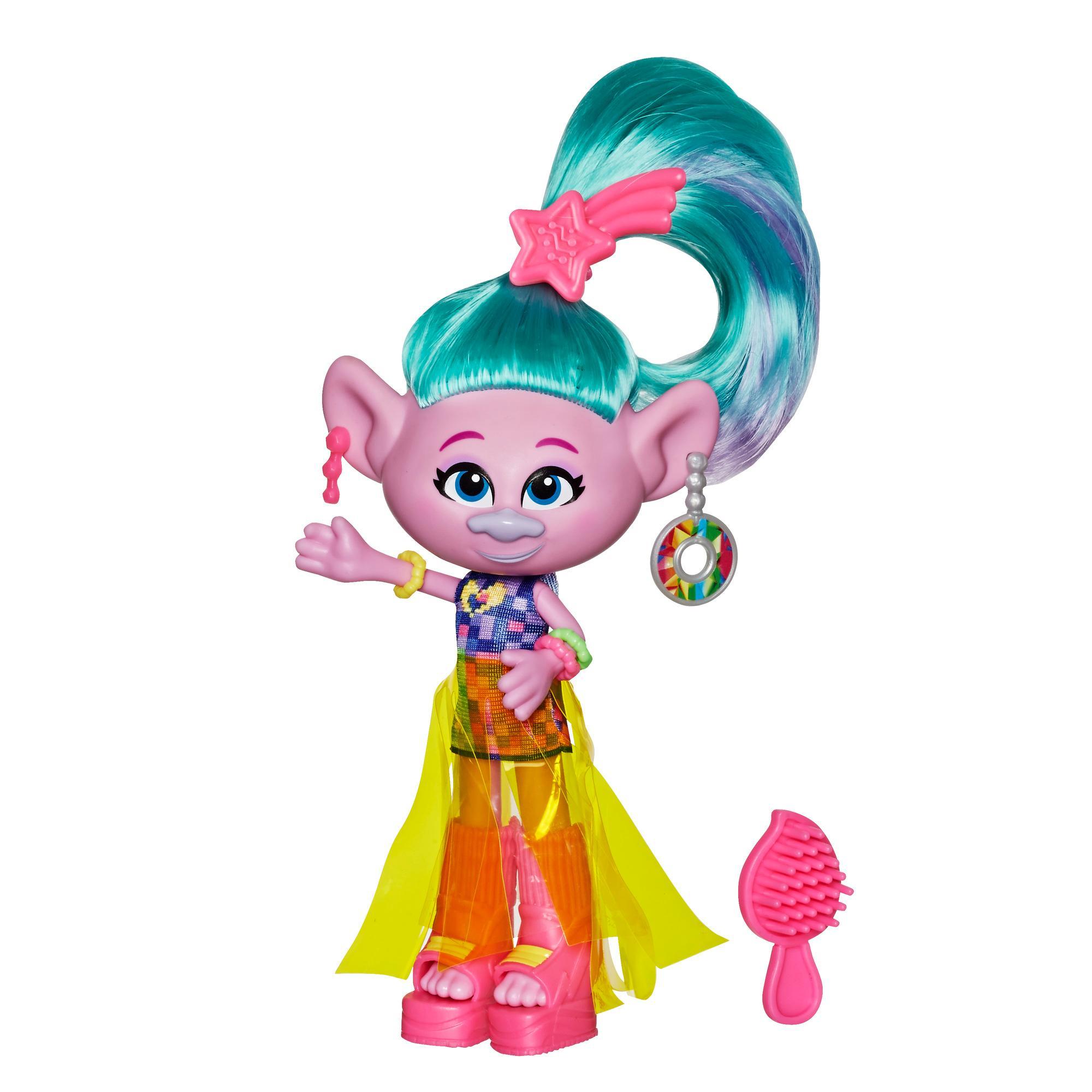 Trolls de DreamWorks, Poupée Mannequin Mode Deluxe Satin, avec robe et plus, du film Trolls 2 : Tournée mondiale, jouet pour enfants