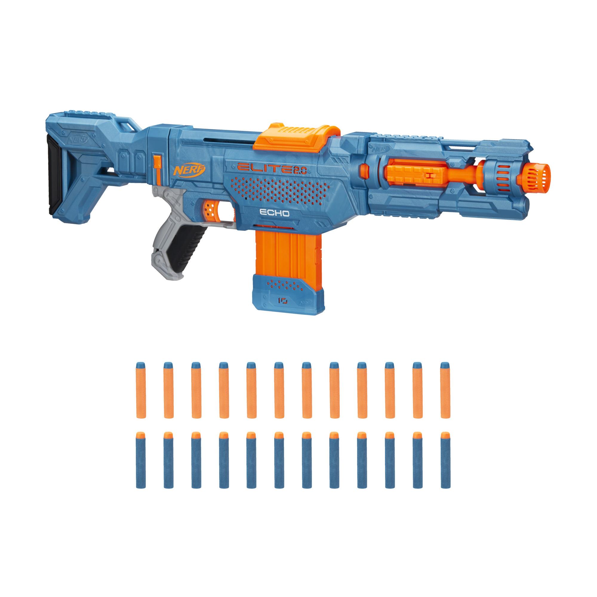 Nerf Elite 2.0, blaster Echo CS-10, 24 fléchettes Nerf, chargeur 10 fléchettes, crosse amovible et rallonge de canon, 4 rails tactiques