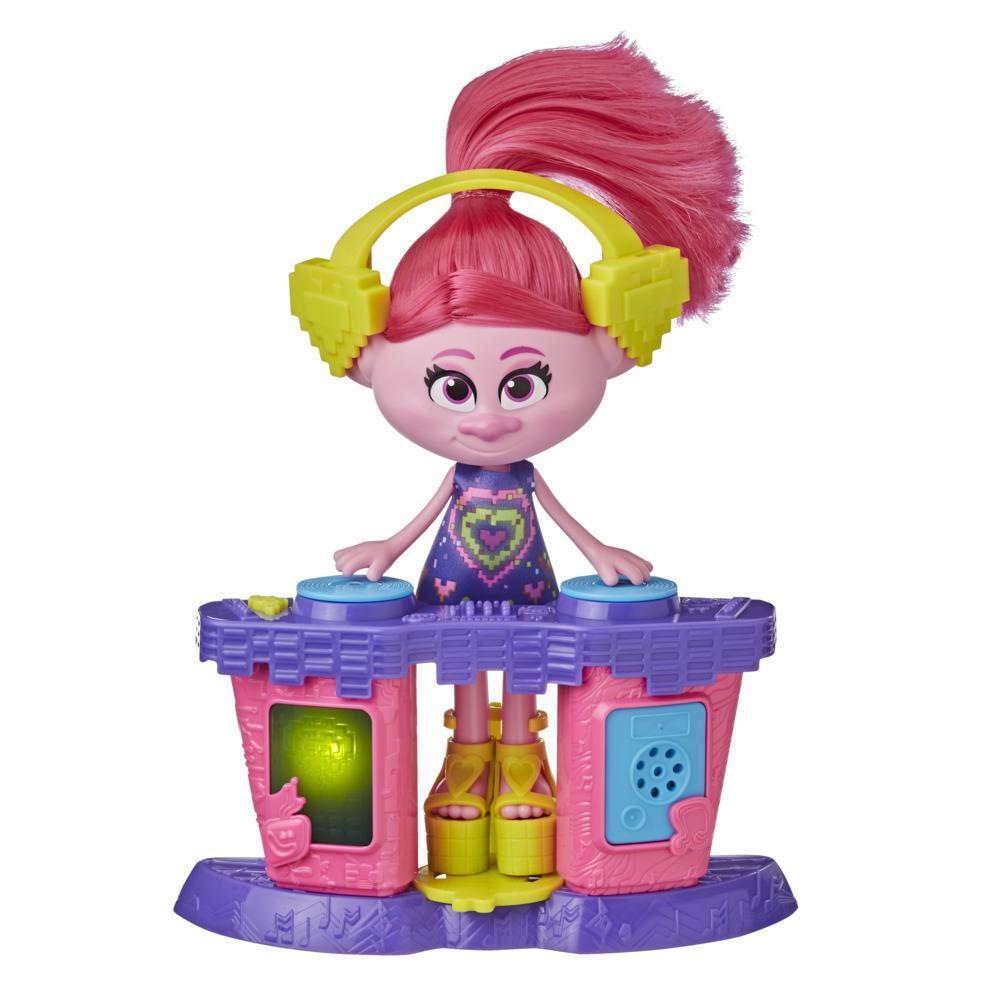 DreamWorks Trolls 2 : Tournée mondiale, poupée mannequin Poppy disco avec table de DJ, robe, pour enfants, dès 4 ans