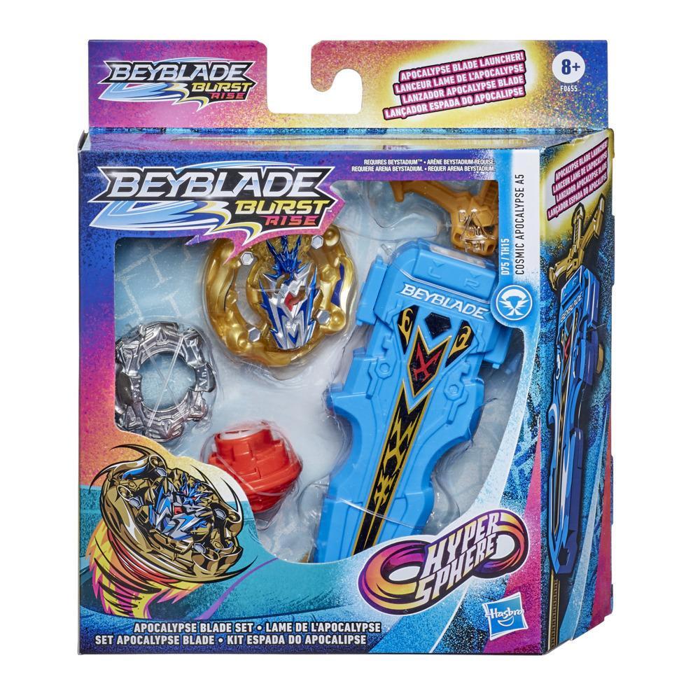 Beyblade Burst Rise Hypersphere, Lanceur Apocalypse, lanceur à rotation droite/gauche avec toupie à rotation droite