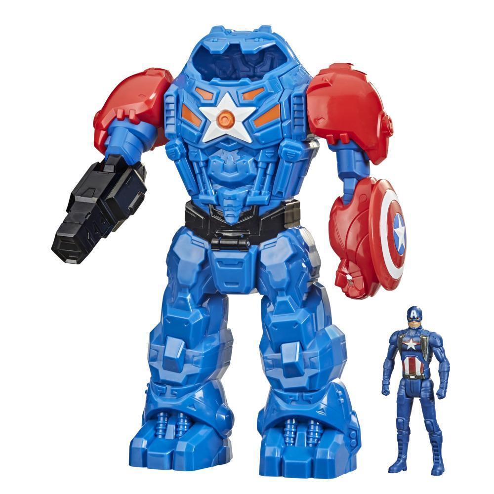 Hasbro Marvel Avengers Heroes, Armure mécanique, figurine Captain America de 9,5 cm et armure mécanique de 25 cm, dès 4 ans