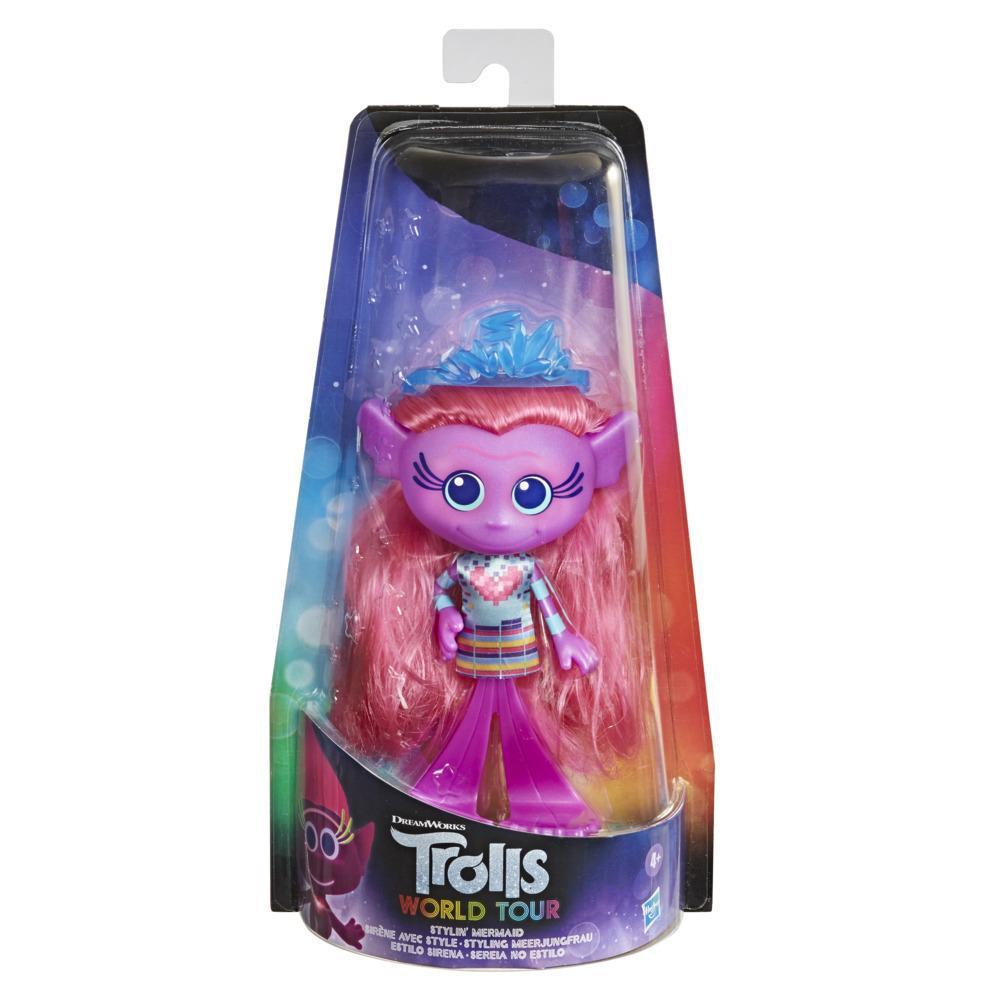 DreamWorks Les trolls 2: Tournée mondiale, Sirène avec style, poupée mannequin avec robe et diadème amovibles, pour filles