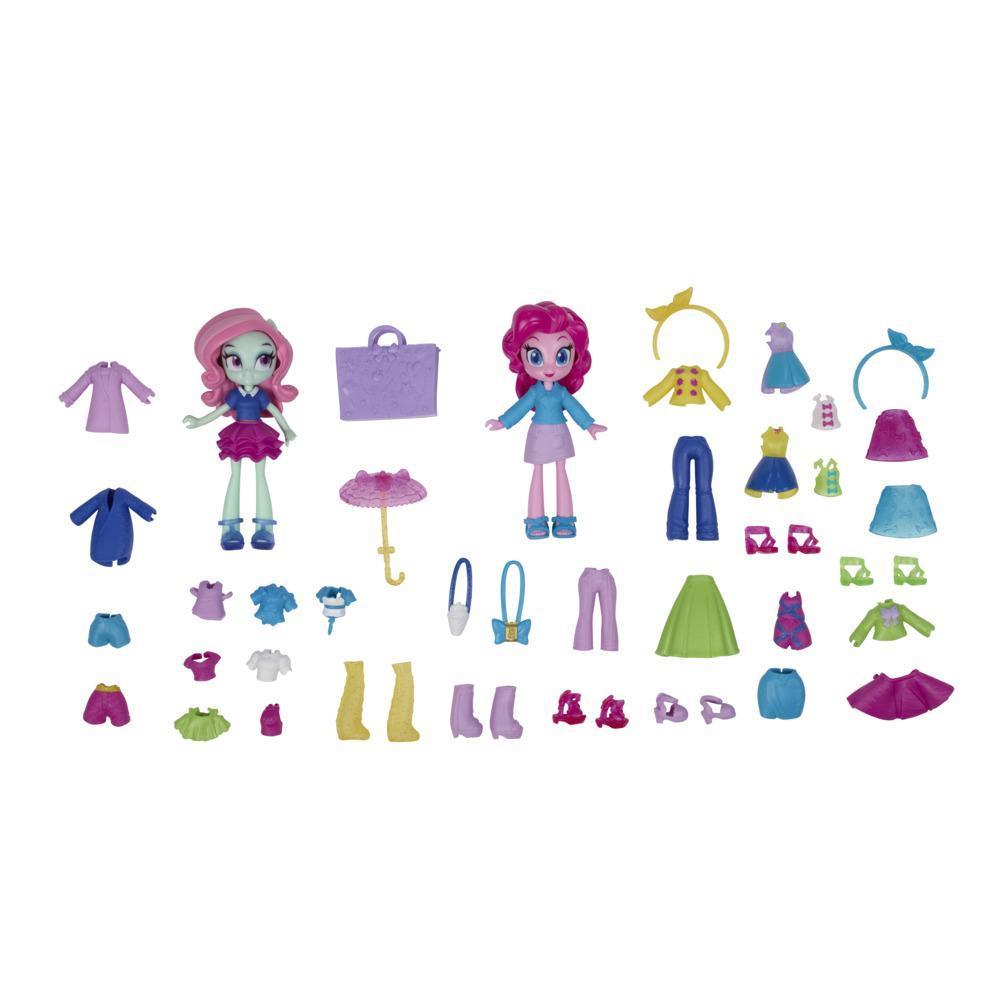 My Little Pony Equestria Girls, 2 mini-poupées Brigade de la mode Pinkie Pie et Minty, plus de 40 accessoires de mode
