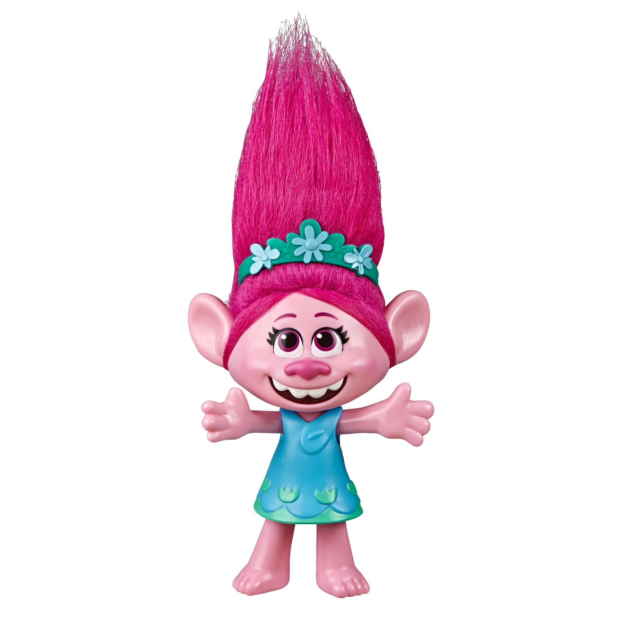 Les Trolls de DreamWorks, Poppy chanteuse pop, poupée chantante, chante «Trolls Just Want to Have Fun», du film Trolls World Tour de DreamWorks