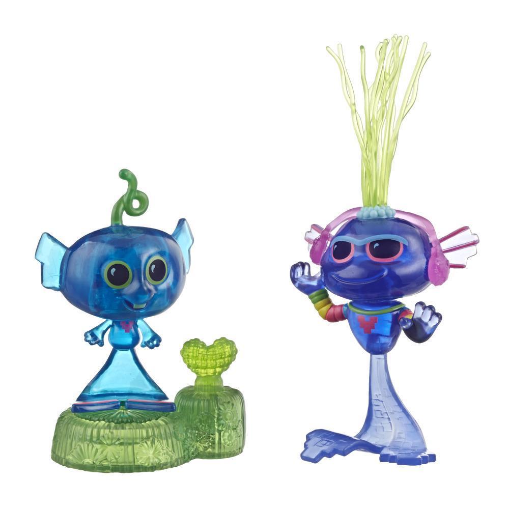 DreamWorks, Les Trolls 2 : Tournée mondiale, Récif Techno, socle et 2 figurines, une à tête dodelinante