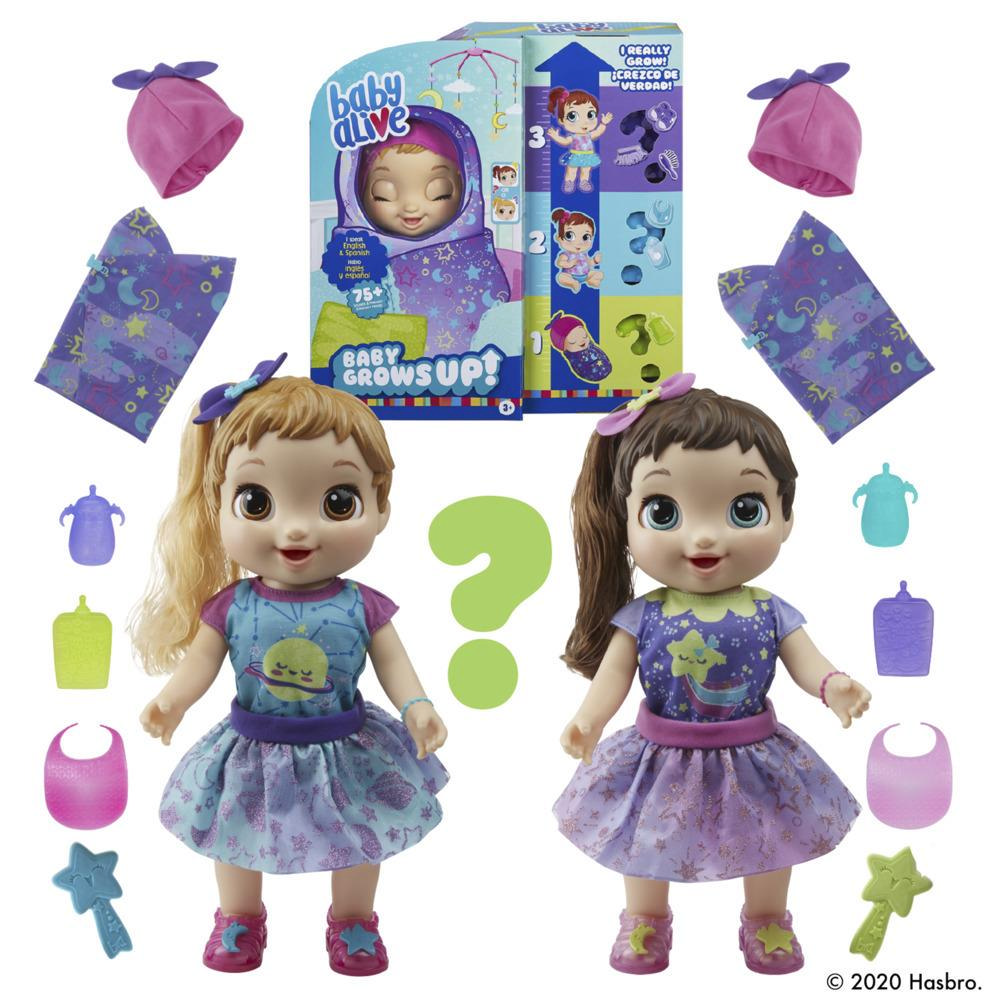 Baby Alive, Baby Grows Up (Dreamy),  Shining Skylar ou Star Dreamer, poupée qui grandit et parle, accessoires surprise