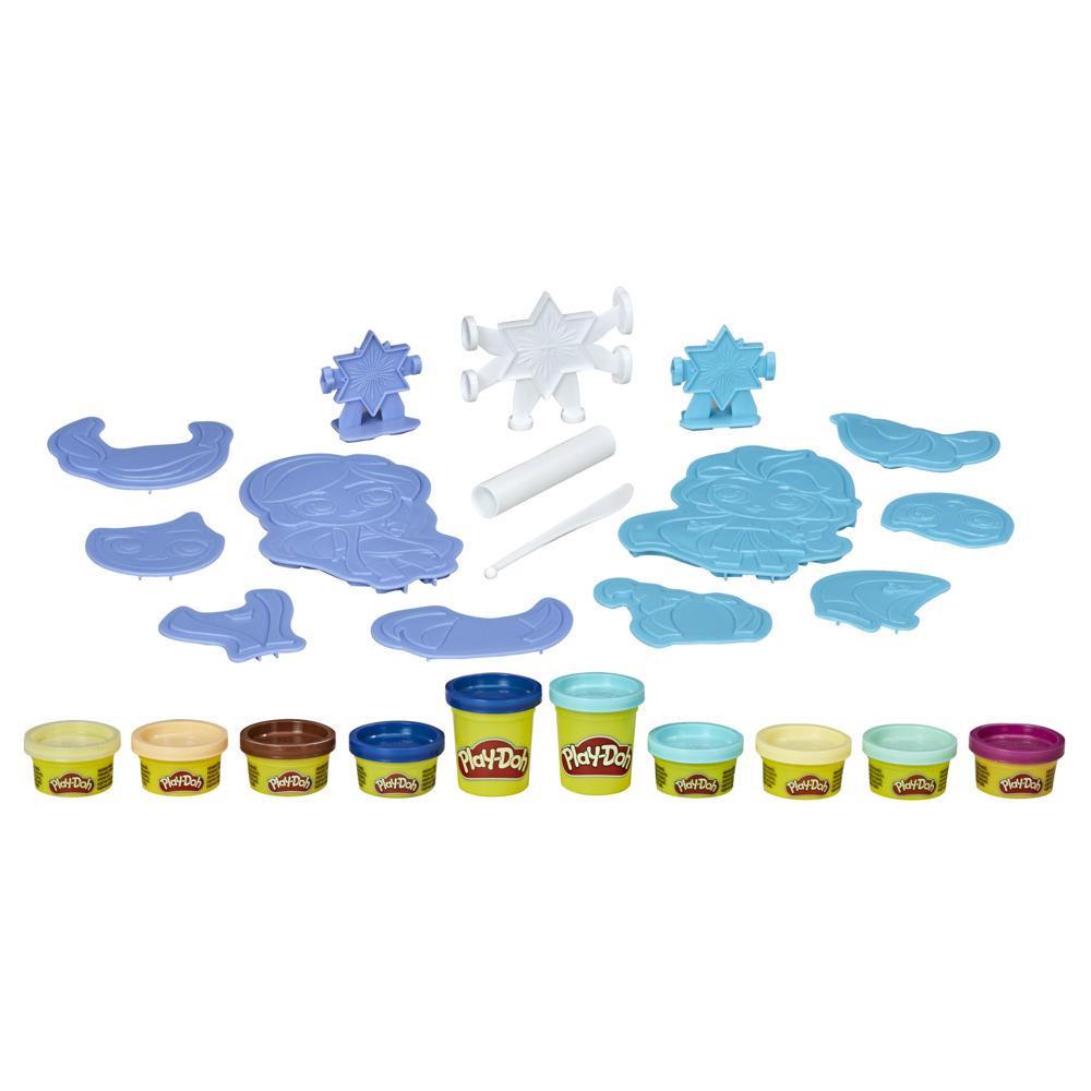 Play-Doh La Reine des neiges 2, Créations des neiges, créer ses propres personnages Anna et Elsa, 10pots de pâte atoxique