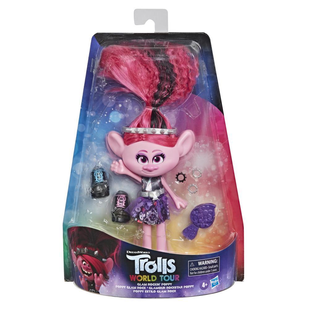 DreamWorks Trolls 2 : Tournée mondiale, poupée Poppy Glam Rock avec robe et autres, jouet pour enfants, dès 4 ans