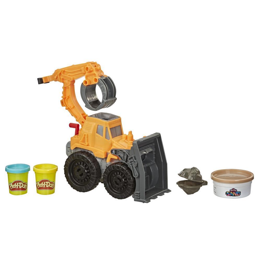 Play-Doh Wheels, Tractopelle avec pâte Play-Doh Sand atoxique imitation sable et 2couleurs de pâte Play-Doh classique