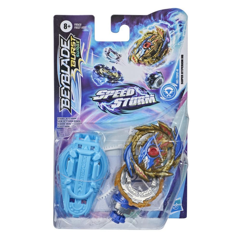 Beyblade Burst Surge, Starter Pack avec toupie de compétition Speedstorm Super Hyperion H6 et lanceur