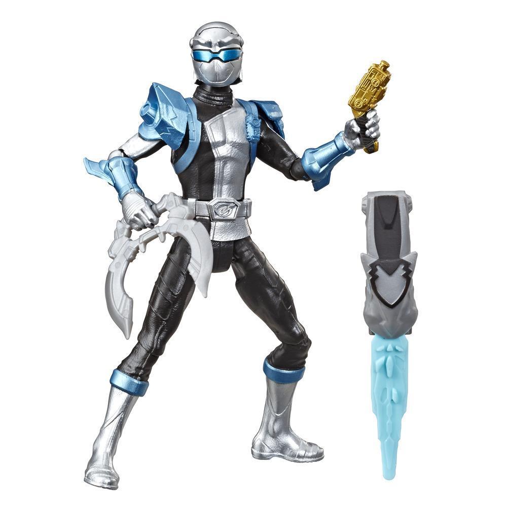Power Rangers Beast Morphers - Figurine jouet de 15 cm Ranger argenté inspirée de la série télé Power Rangers