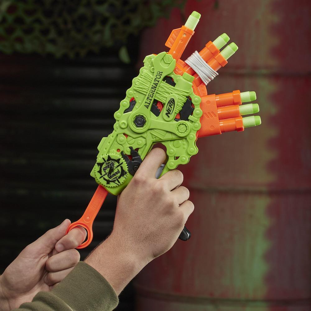 Blaster Nerf Zombie Strike Alternator - inclut 12 fléchettes Nerf Zombie Strike Elite officielles, pour enfants, ados et adultes