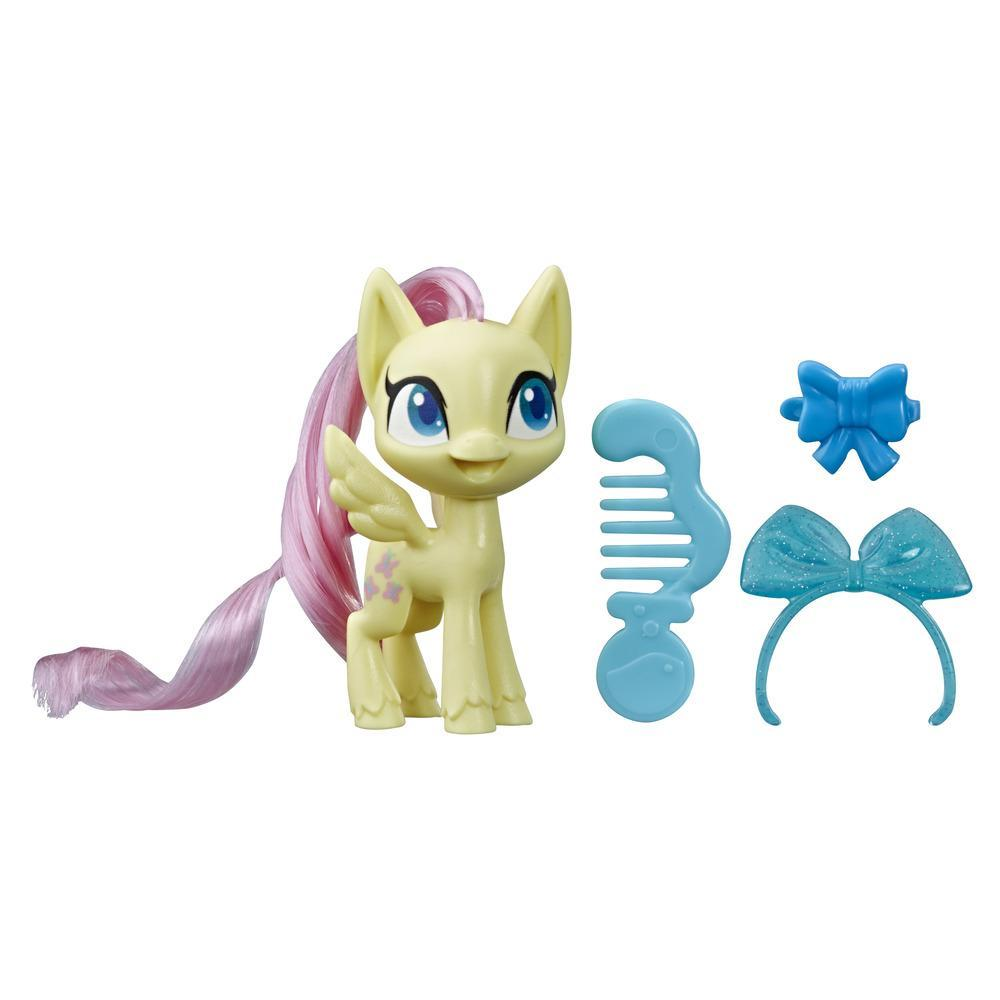 My Little Pony, Fluttershy Potion Pony, poney jaune de 7,5 cm avec crinière à brosser, peigne et accessoires