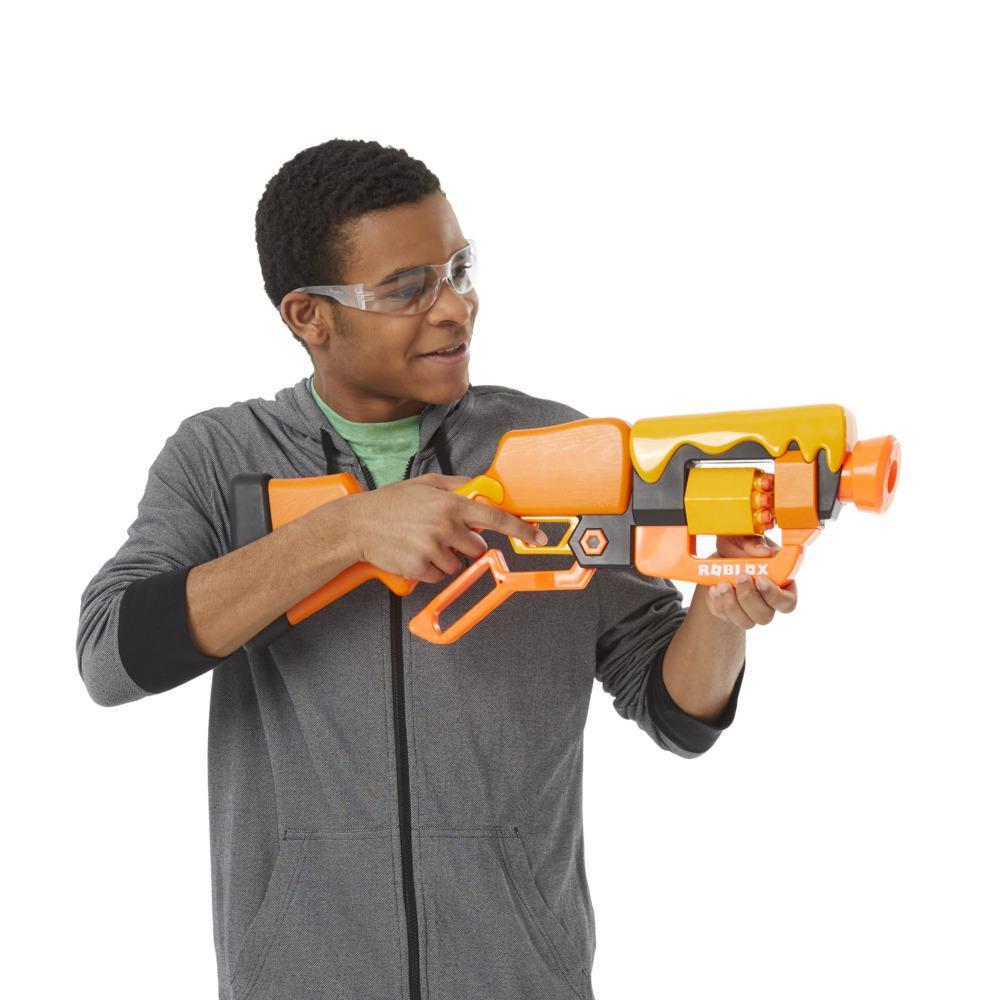 Nerf Roblox Adopt Me!: BEES! blaster à fléchettes avec mécanisme à levier, 8 fléchettes, code pour le jeu