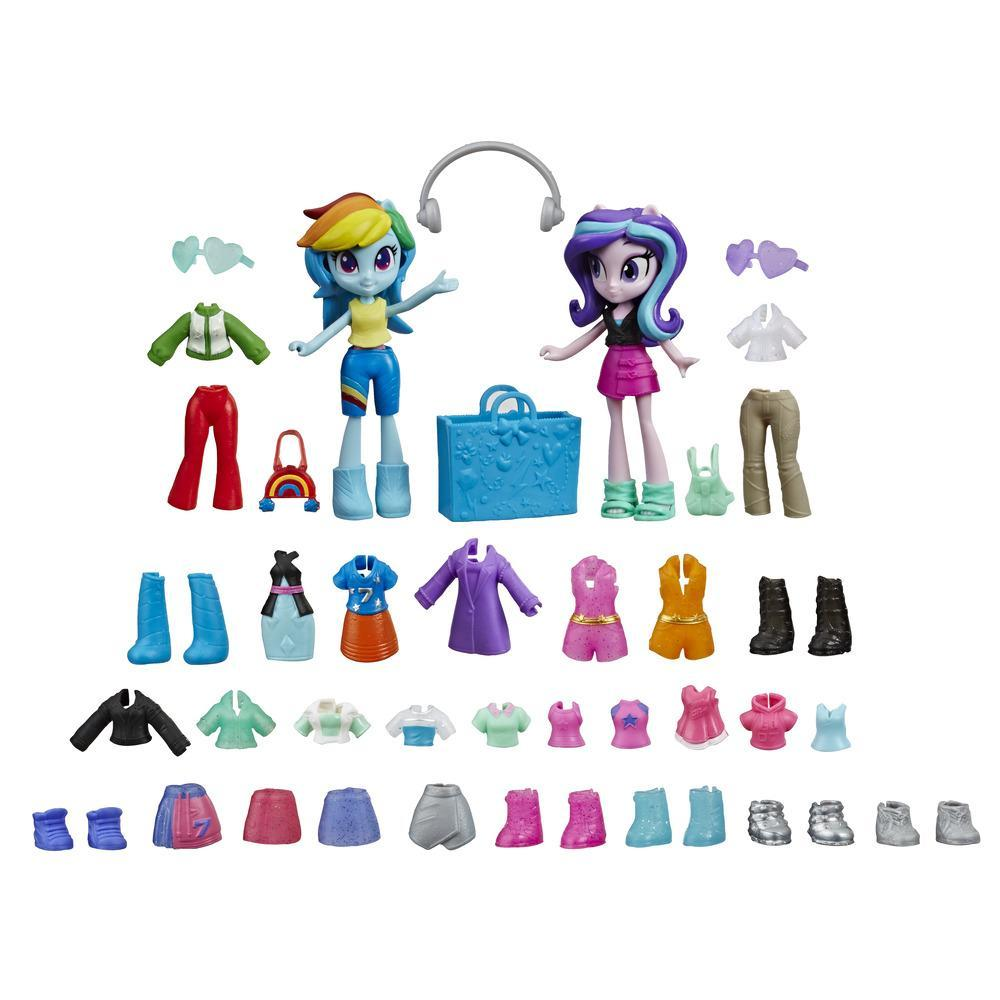 My Little Pony Equestria Girls, Brigade de la mode, mini-poupées Rainbow Dash et Starlight Glimmer, plus de 40 pièces