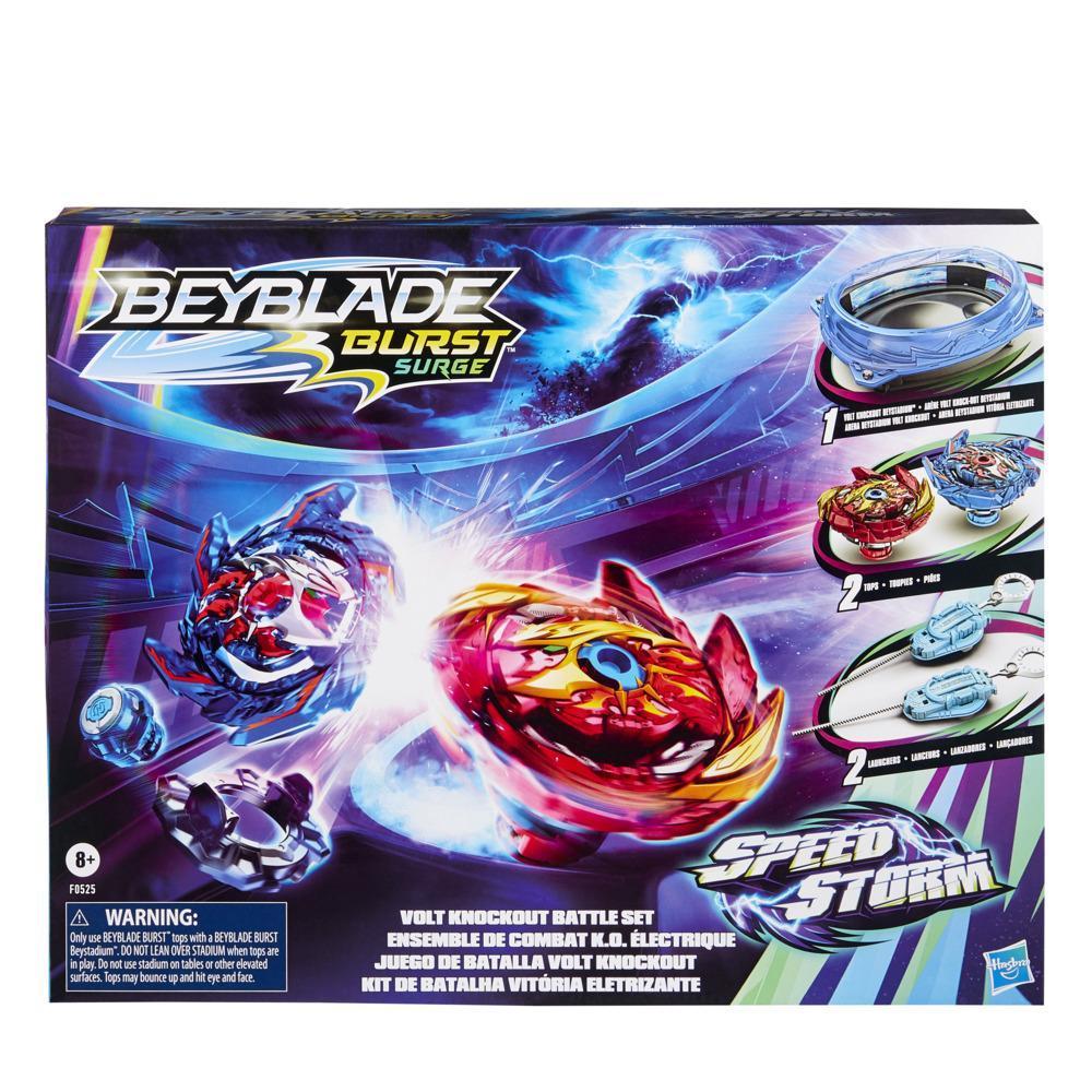 Beyblade Burst Surge Speedstorm, ensemble de combat Volt Knockout : arène Beystadium, 2 toupies et 2 lanceurs