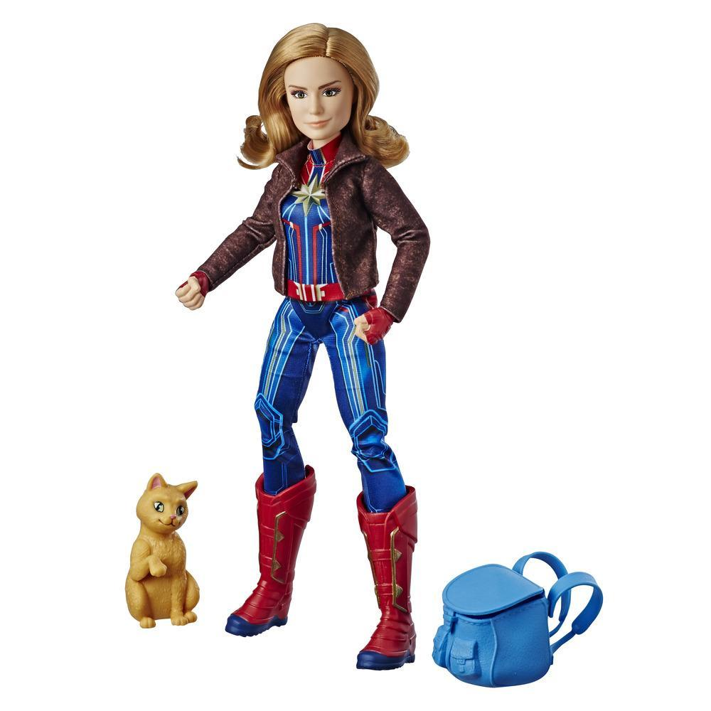 Marvel Captain Marvel - Poupée de superhéroïne Capitaine Marvel avec le chat Marvel's Goose