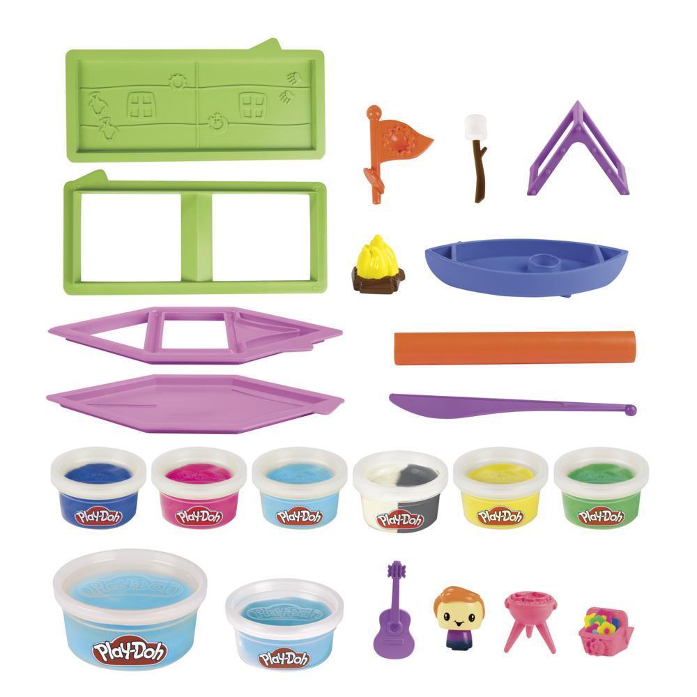 Play-Doh Builder, Soirée camping, facile à construire soi-même, 8pots de pâte Play-Doh atoxique, pour enfants, dès 5ans