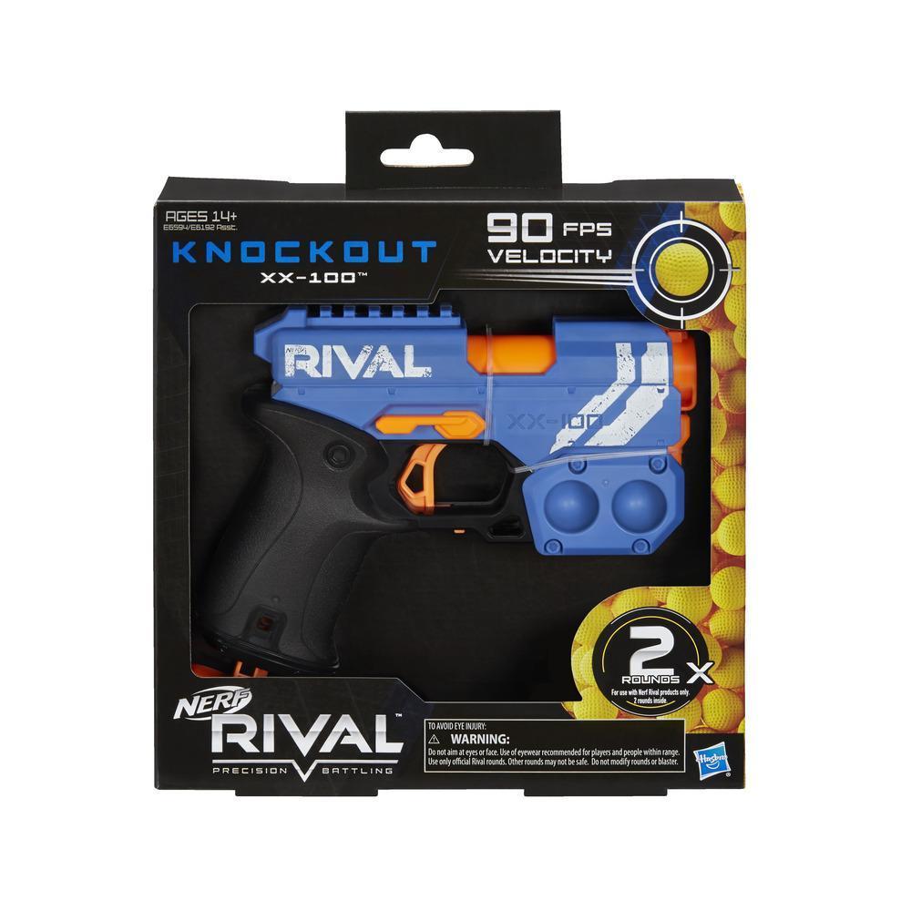 Nerf Rival, Blaster Knockout XX-100 ; rangement pour billes en mousse, 27 m/s ; vendu avec 2 billes en mousse Nerf Rival officielles, équipe des bleus