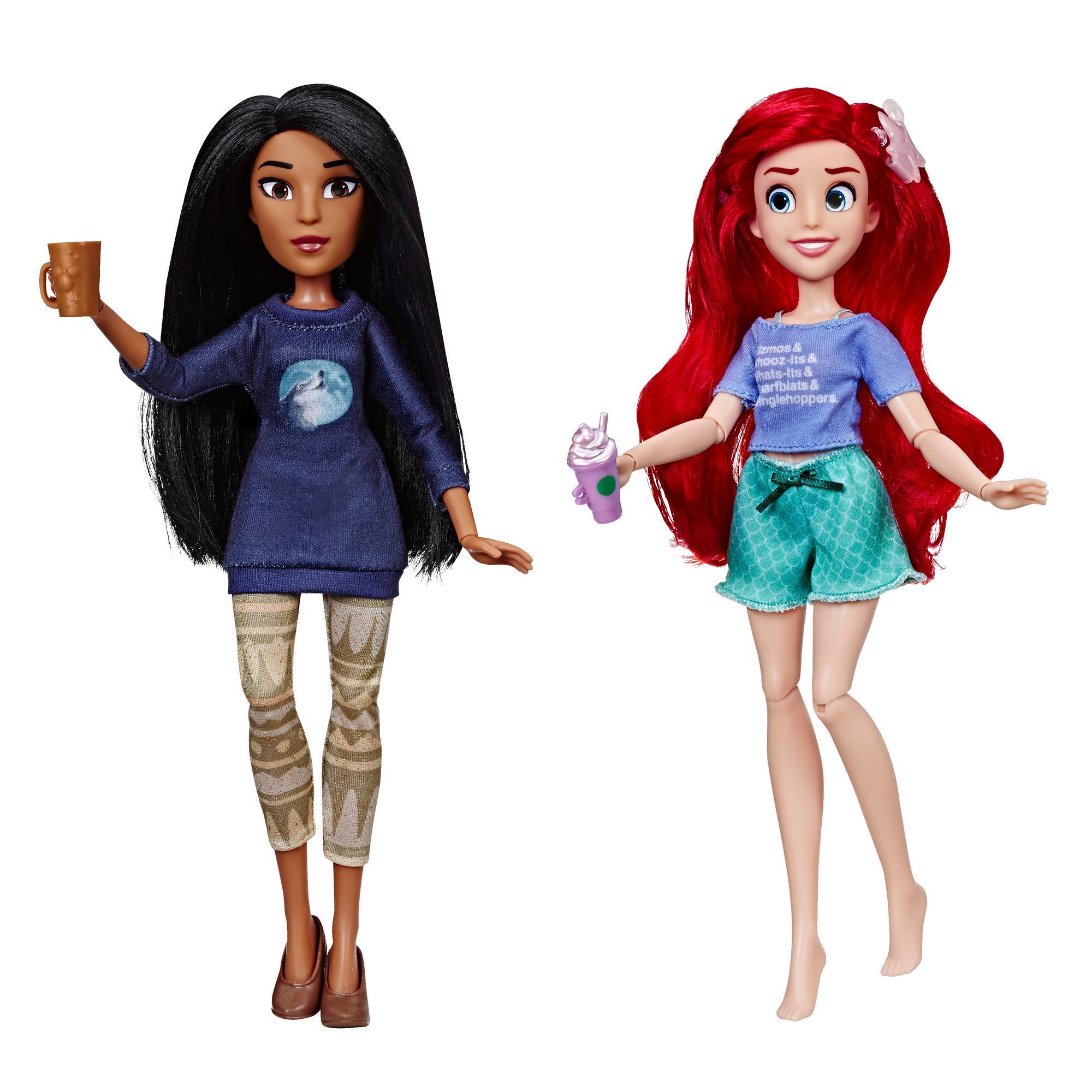 Disney Princess - Poupées Ariel et Pocahontas en tenues décontractées avec accessoires inspirées du film Ralph brise l'Internet