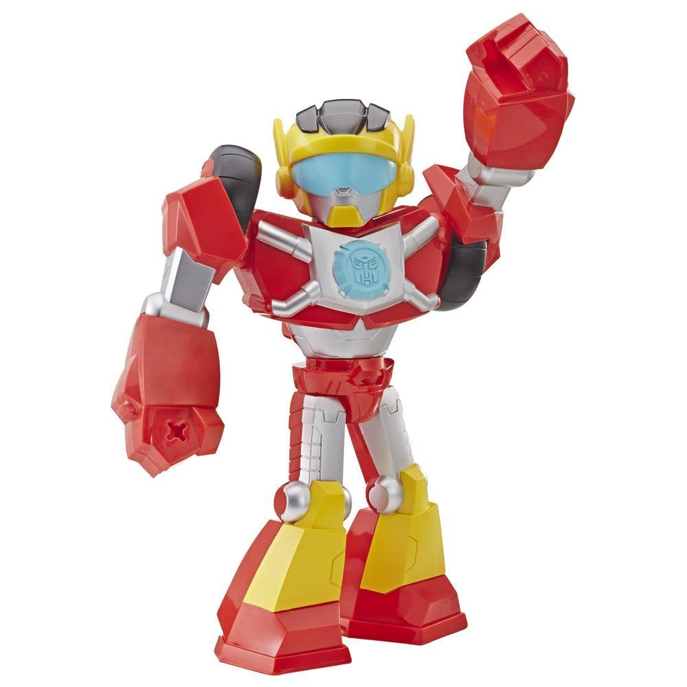 Playskool Heroes Transformers Rescue Bots Academy Mega Mighties - Figurine de 25 cm articulée de robot Hot Shot de collection, jouets pour enfants de 3 ans et plus