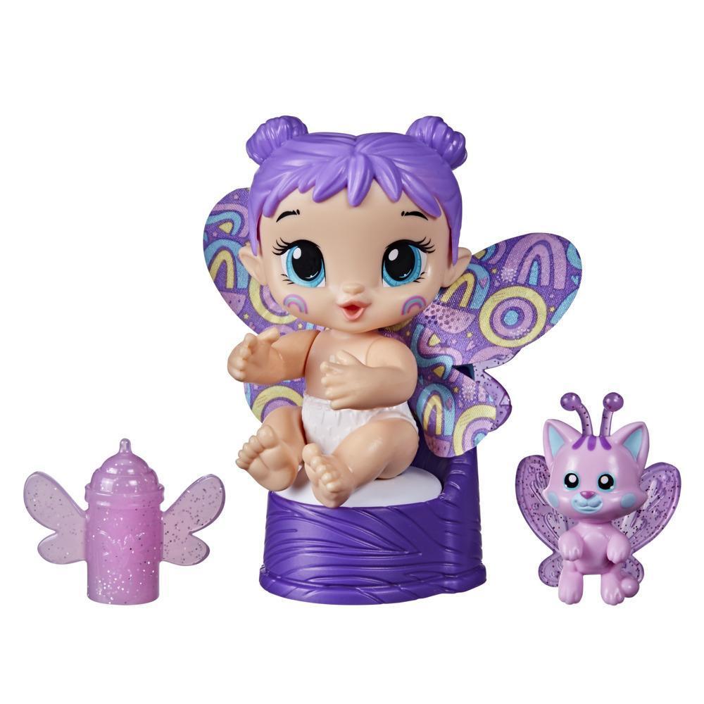 Baby Alive mini-poupée GloPixies Plum Rainbow, poupée de fée phosphorescente de 9,5 cm avec ami surprise, dès 3 ans