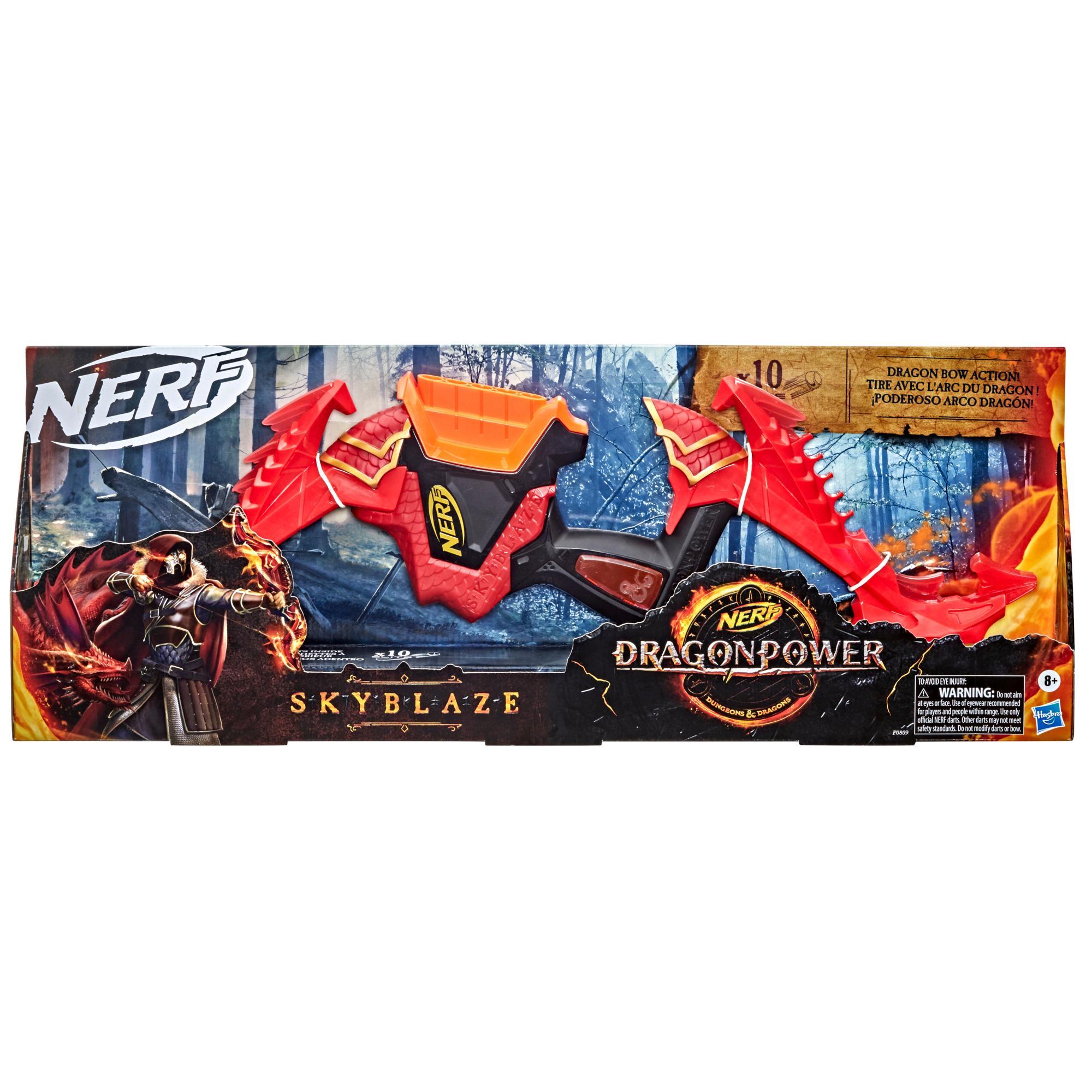 Nerf DragonPower, arc à fléchettes Skyblaze, inspiré de Dungeon and Dragons, 10 fléchettes Nerf, range 5 fléchettes