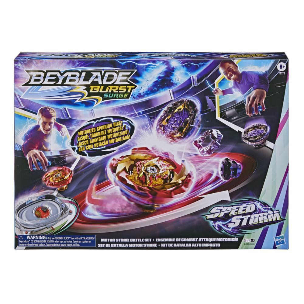 Beyblade Burst Surge Speedstorm, ensemble de combat Attaque motorisée, arène Beystadium motorisée, 2 toupies et 2 lanceurs