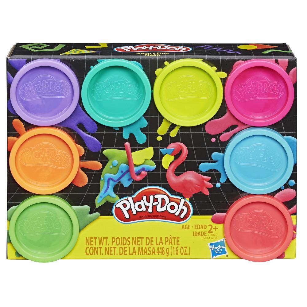 Play-Doh - Ensemble Fluo de 8 pots Play-Doh atoxique 8 couleurs