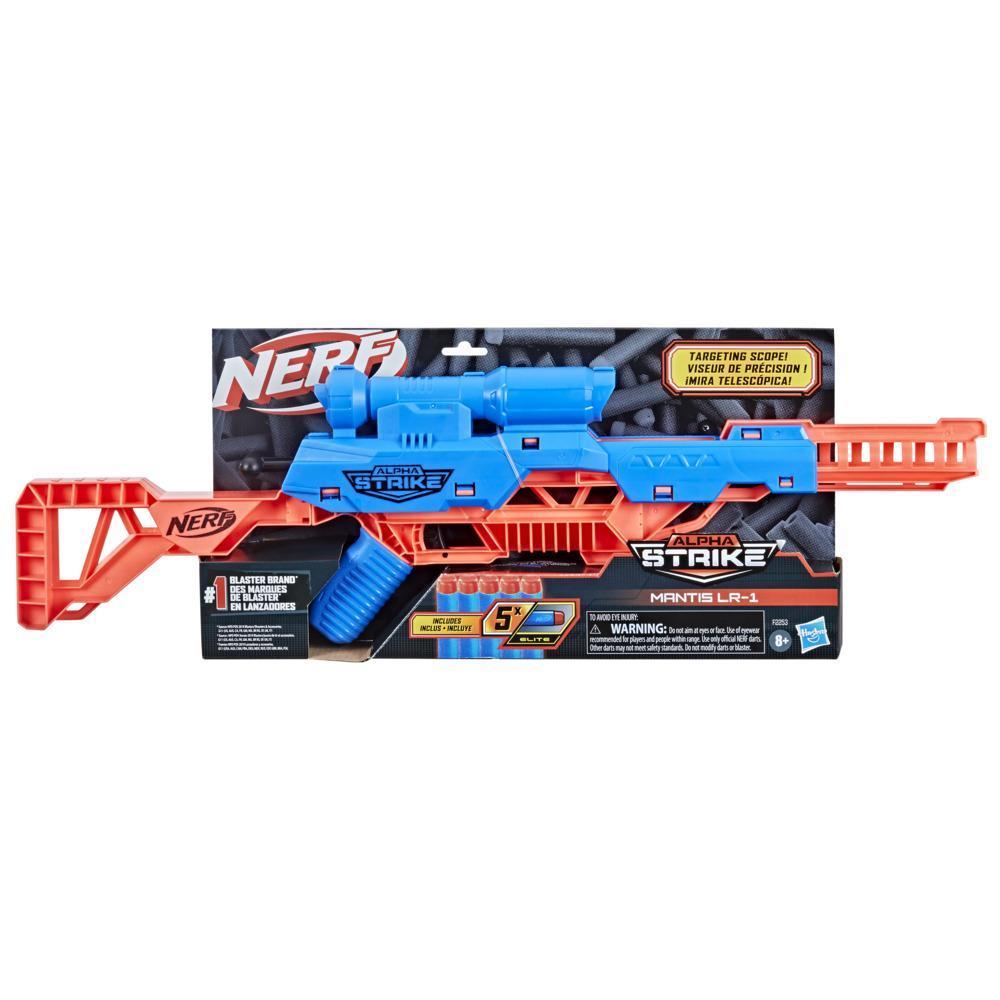 Nerf Alpha Strike, blaster Mantis LR-1 avec viseur de précision et 5 fléchettes Nerf Elite en mousse, facile à utiliser