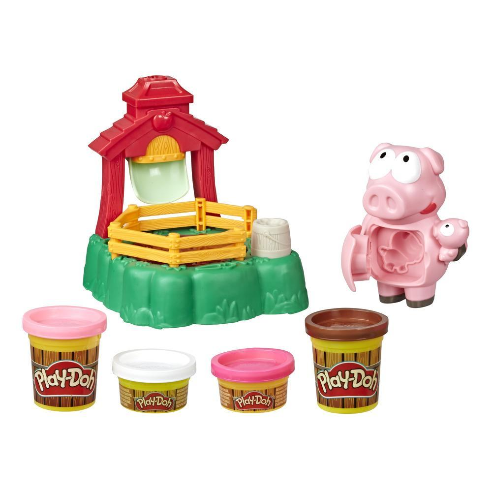 Play-Doh Animal Crew, Pigsley Cochons farceurs avec jeu de ferme et 4 pots de pâte Play-Doh atoxique de différentes couleurs