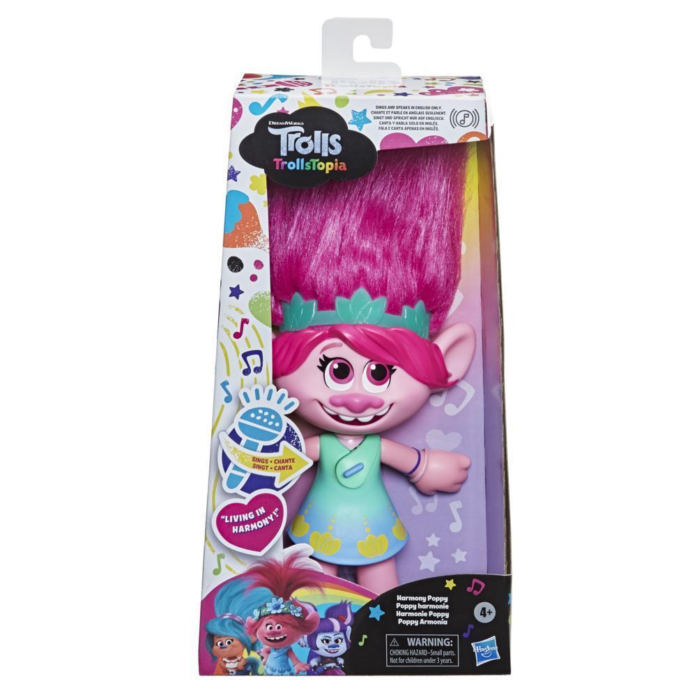 DreamWorks TrollsTopia, poupée Poppy harmonie qui chante et parle, jouet musical pour enfants, dès 4 ans