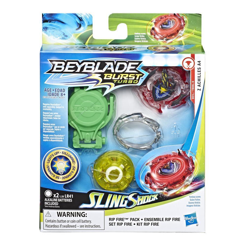 Kit de départ Beyblade Burst Slingshock Rip Fire Z Achilles A4 : Toupie de combat lumineuse avec propulseur gauche/droite, 8 ans et plus
