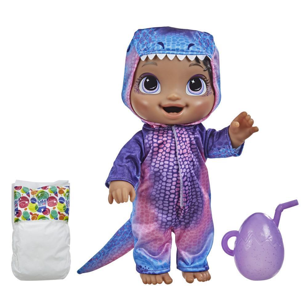 Baby Alive, bébé Adorables dinos, tyrannosaure, boit et fait pipi, dinosaure aux cheveux noirs, pour enfants, dès 3 ans