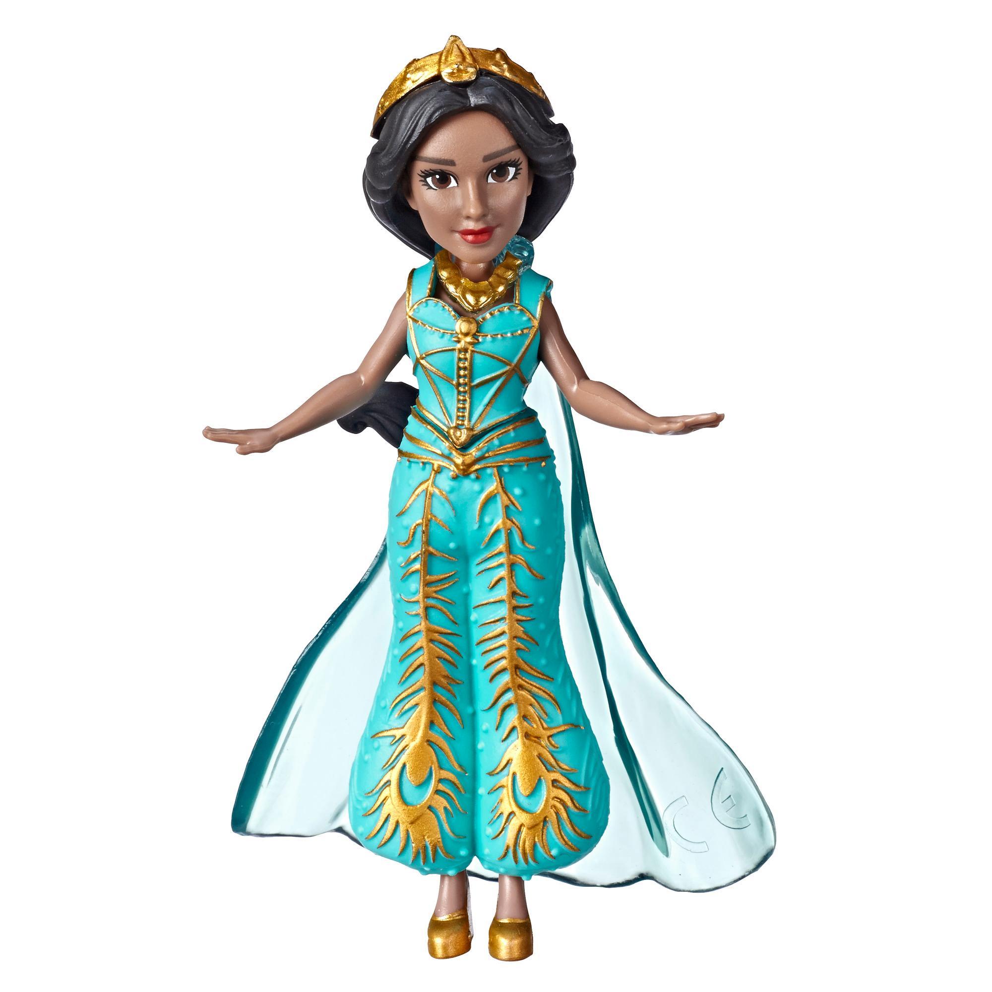 Disney - Poupée de collection de la princesse Jasmine. Petite poupée de 8,5 cm vêtue d'une robe turquoise inspirée du film Aladdin de Disney, jouet pour enfants de 3 ans et plus