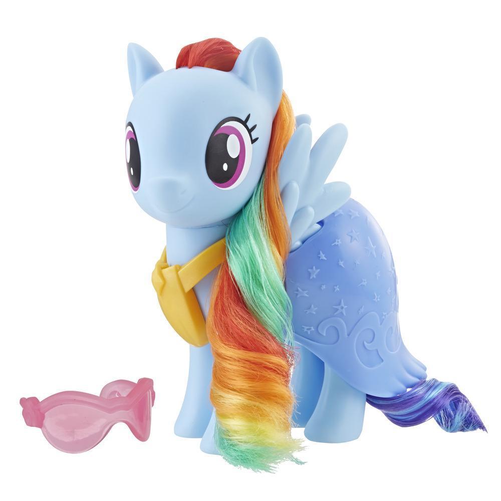 My Little Pony - Figurine Rainbow Dash à habiller - Poney bleu de 15 cm avec accessoires mode