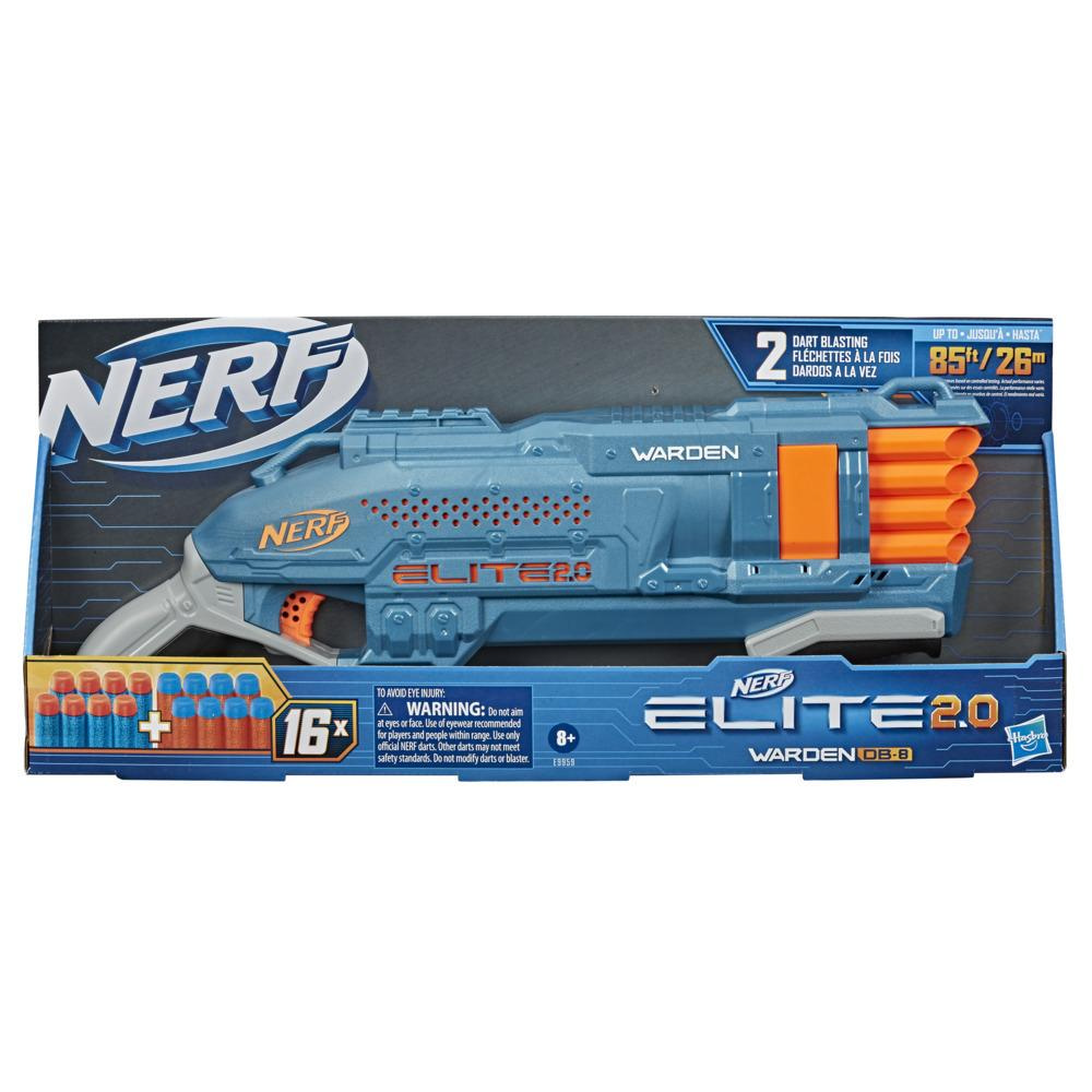 Nerf Elite 2.0, blaster Warden DB-8, 16 fléchettes Nerf officielles, 2 fléchettes d'un coup, rail tactique, tir à pompe