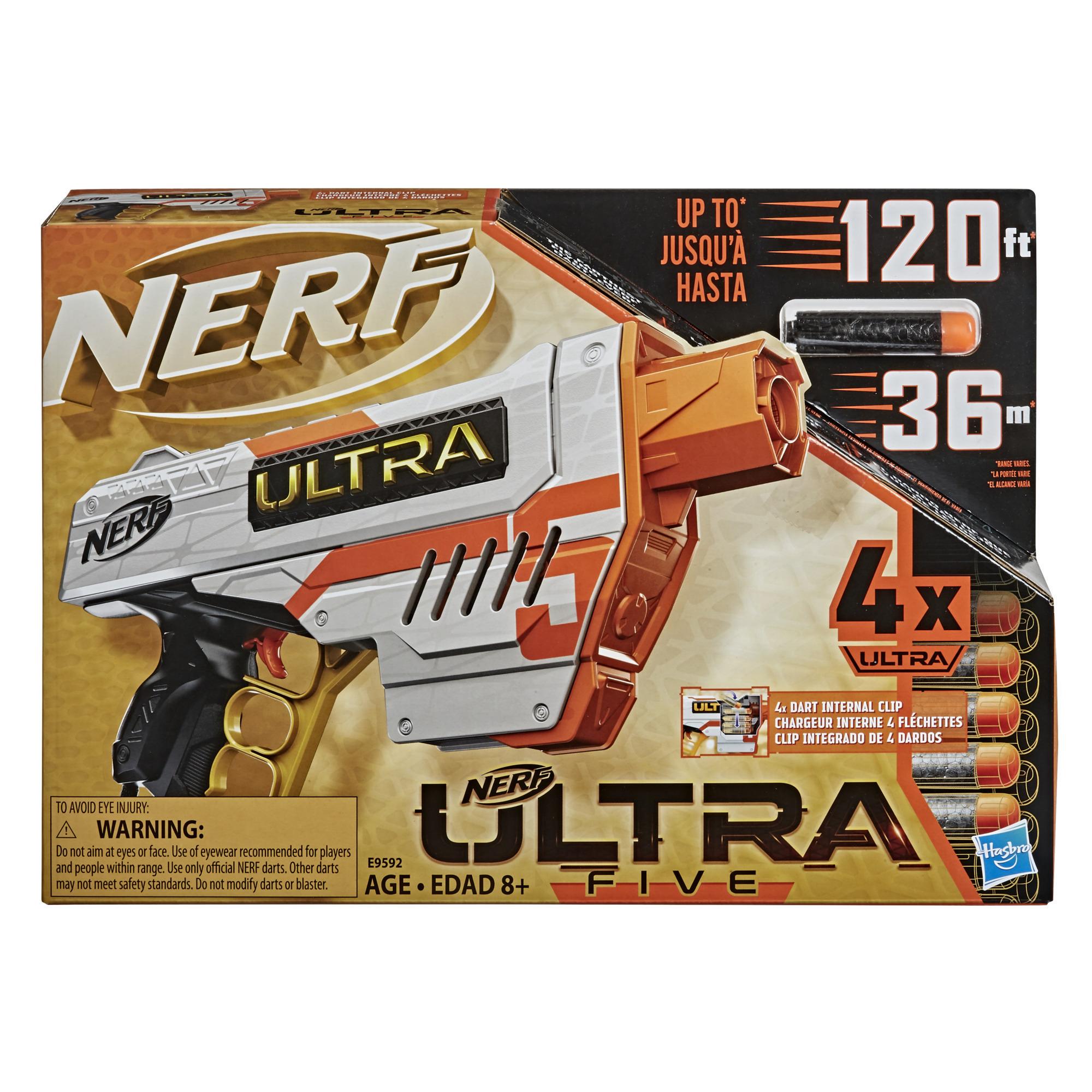 Nerf Ultra - Blaster Five, chargeur intégré 4 fléchettes, 4 fléchettes Nerf Ultra, rangement pour fléchettes, compatible uniquement avec les fléchettes Nerf Ultra