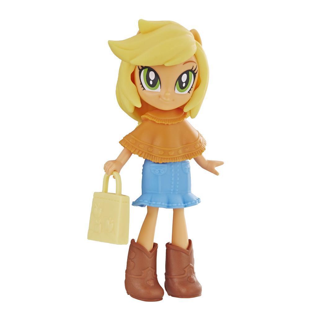 My Little Pony Equestria Girls - Minipoupée Applejack de 7,5 cm de la collection Peloton stylé, offerte avec tenue, bottes et accessoire amovibles, pour filles de 5 ans et plus