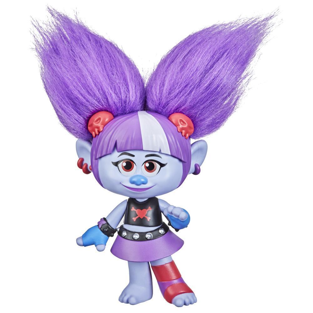 DreamWorks TrollsTopia, Val Super cheveux surprise, poupée avec 4surprises cachées dans ses cheveux, dès 4 ans