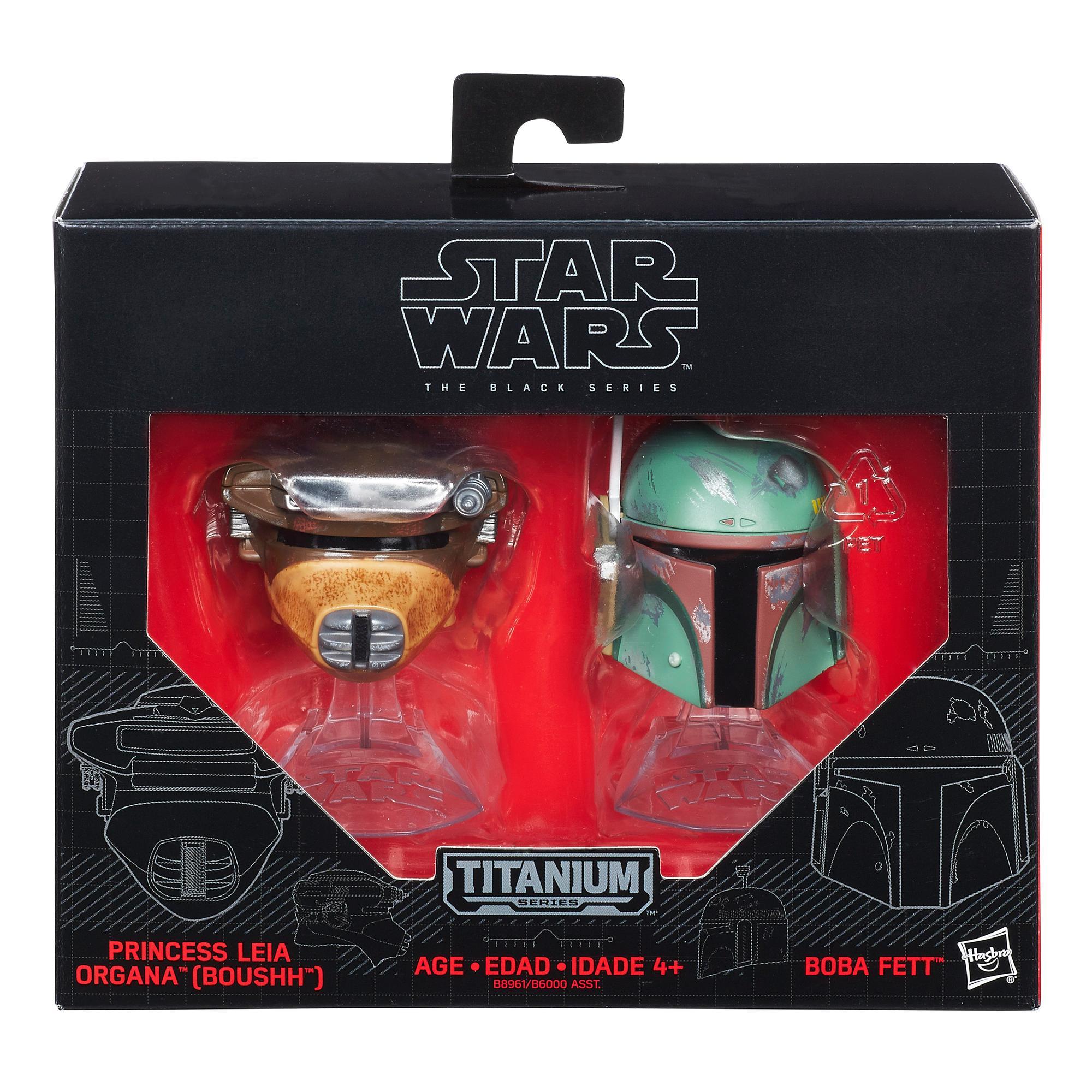 Star Wars Série noire Titanium - Casques de Boba Fett et de la princesse Leia Organa (Boushh)